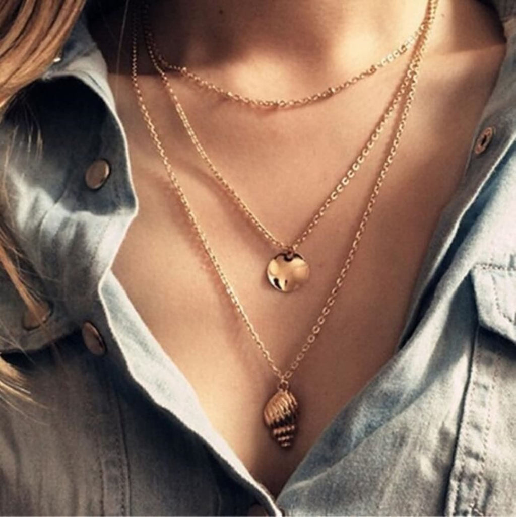 Gold Plated Minimalist Necklace Double Layers Necklace Set Disc Conch Medallion Chain
