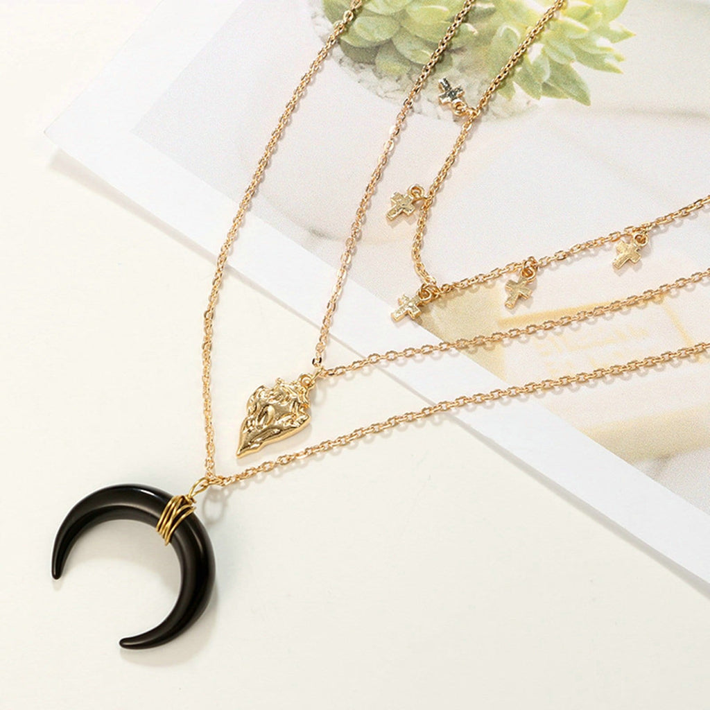 Gold Plated Minimalist Necklace Black Moon Horn Pendant Cross Multi-layered Necklace Set