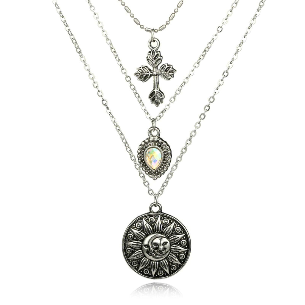 Silver Minimalist Necklace Moon Sun Cross Pendant Gemstone Waterdrop Multi-layered Necklace Set