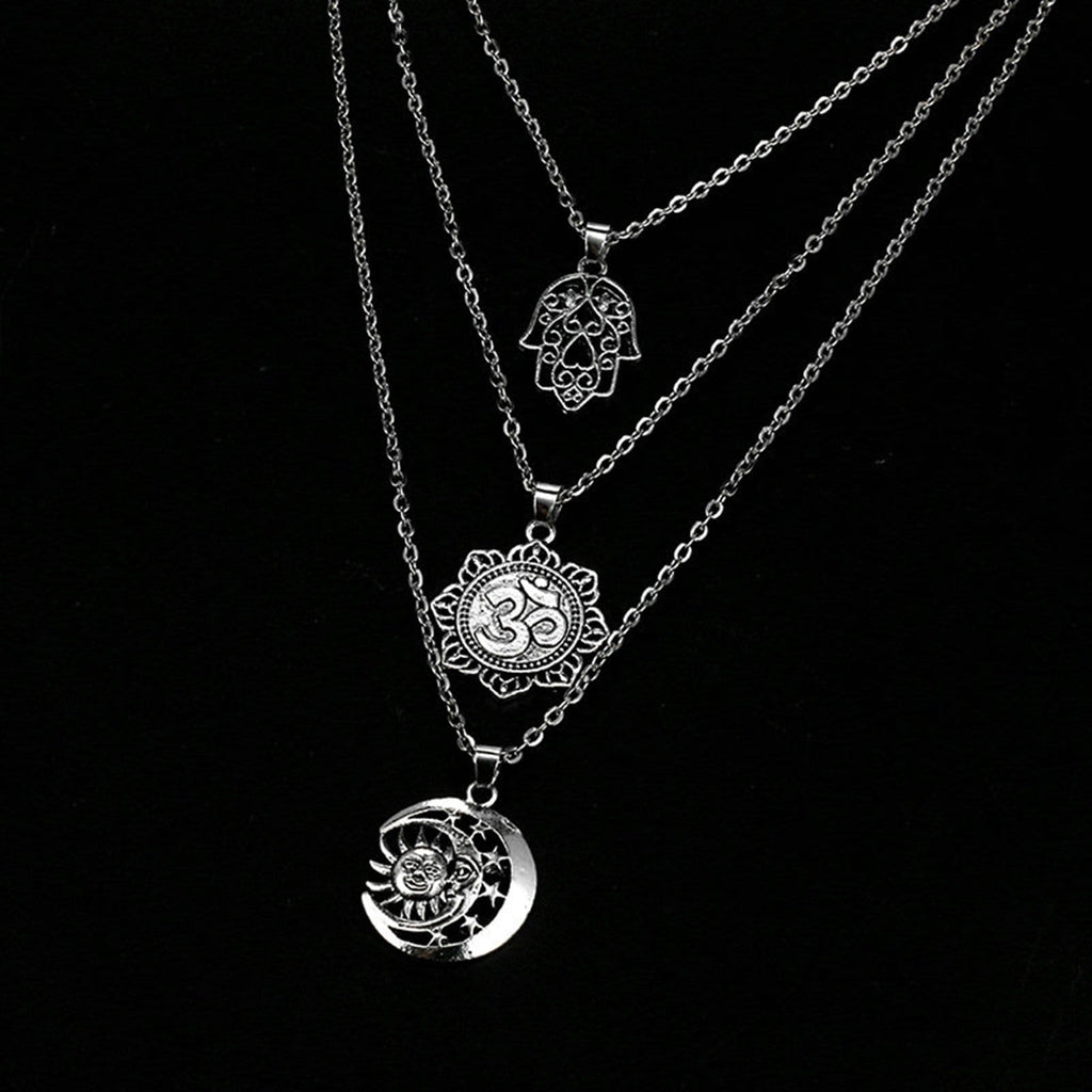 Silver Minimalist Necklace Flower Moon and Sun Pendant Triple Layering Necklace Set
