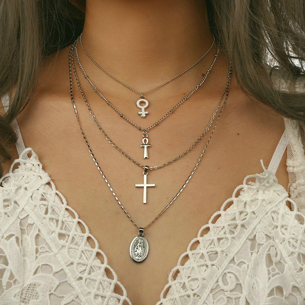 Silver Minimalist Necklace Double Cross Virgin Mary Pendant Multi-layered Necklace Set