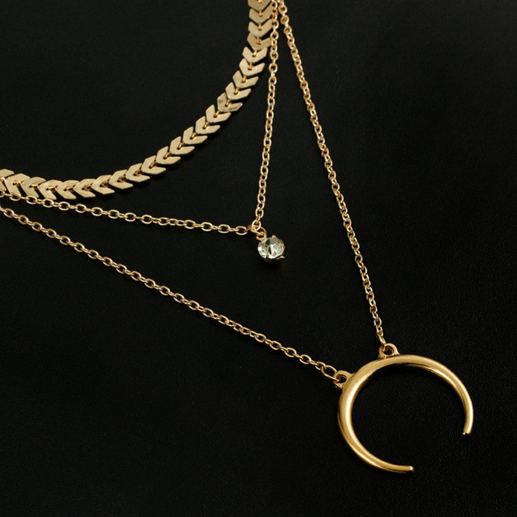 Gold Choker Triple Layers Necklace Moon Pendant Horn Minialist Necklace Cubic Zirconia