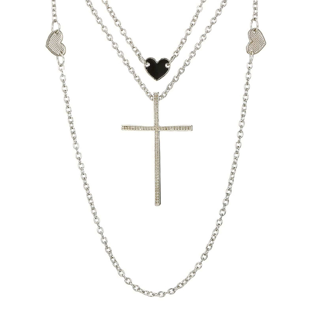 Silver Multi-layered Necklace Set Heart Charms Chain Cross Pendant Minimalist Necklace