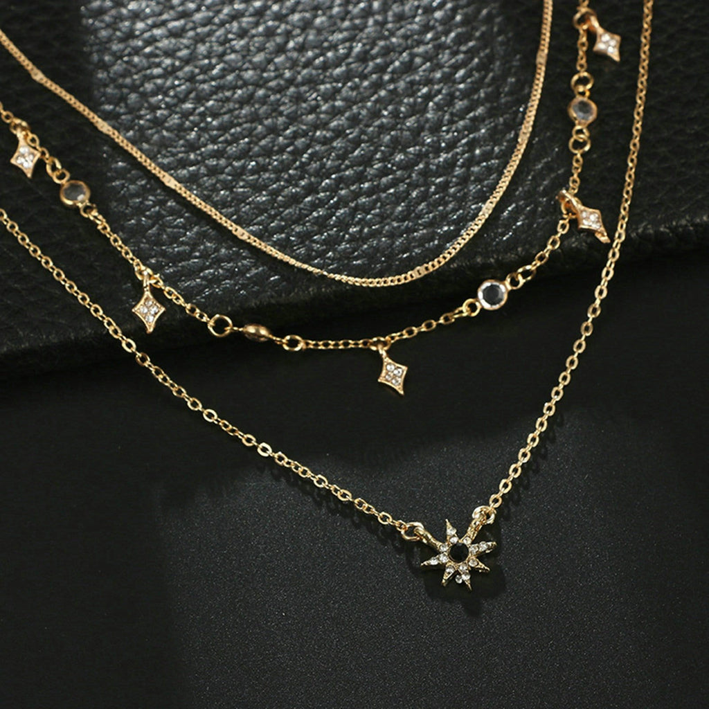 Multi-layered Necklace Set Star Charms Satellite Chain Gold Minimalist Necklace
