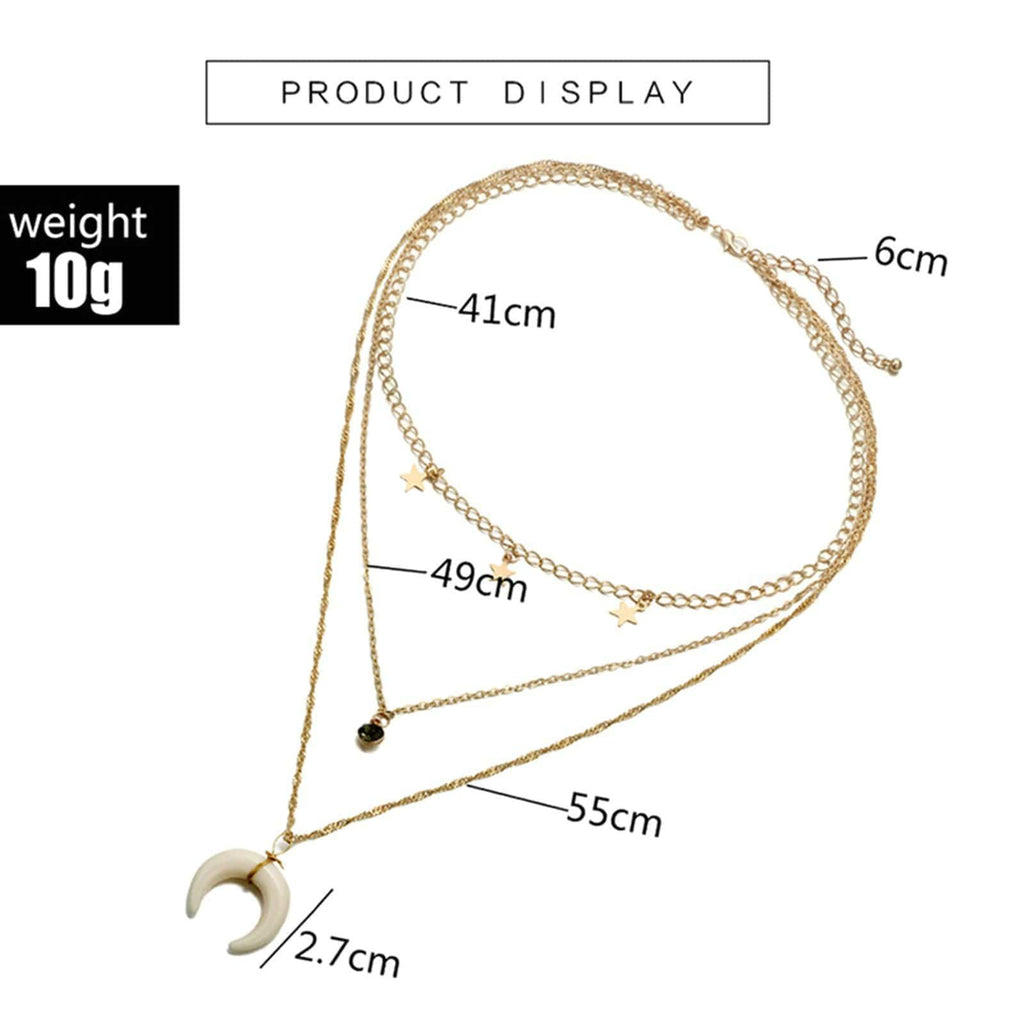 Multi-layered Necklace Set Moon Star Pendant Cubic Zirconia Gold Minimalist Necklace