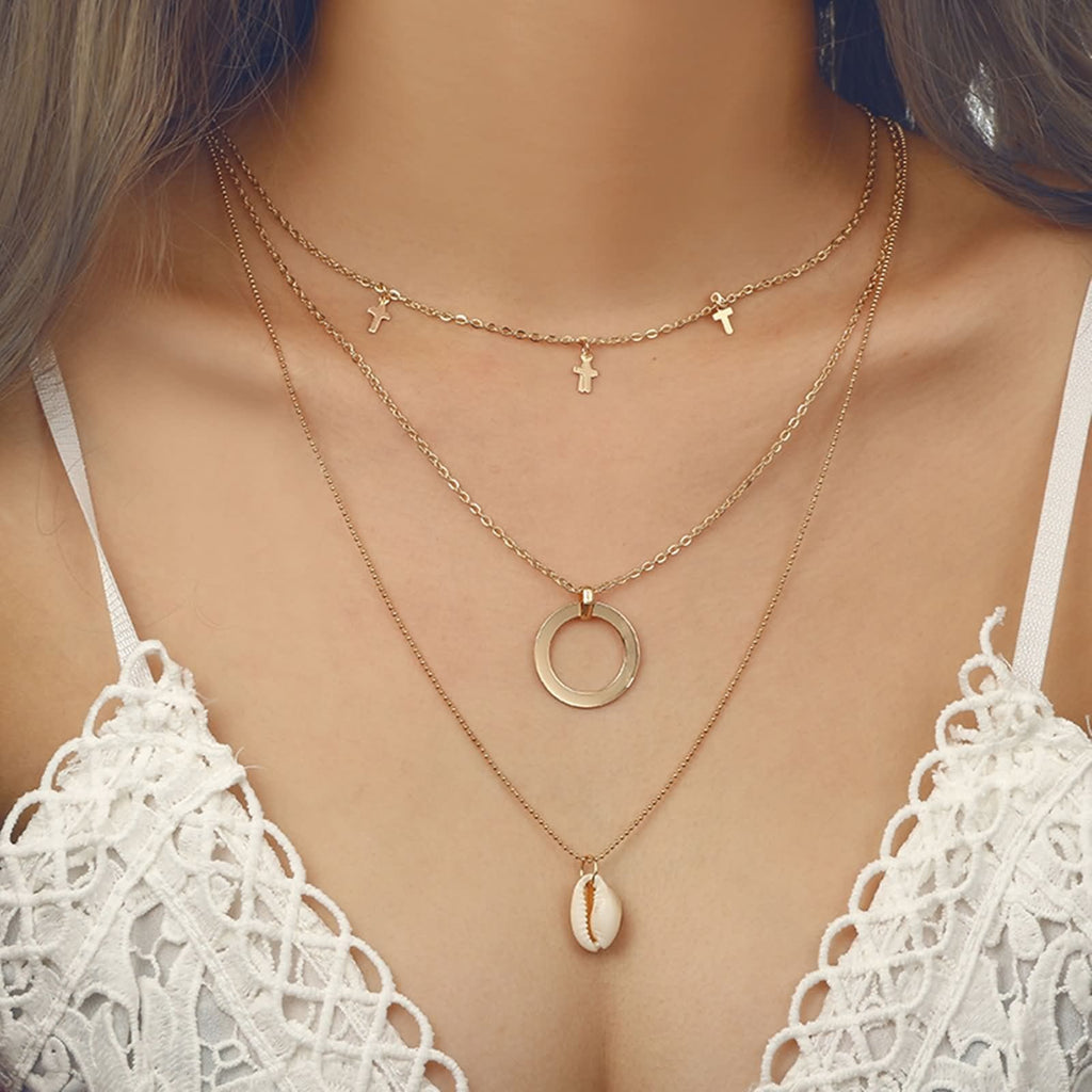 Gold Plated Minimalist Necklace Cross Circle Shell Pendant Triple Layered Necklace Set