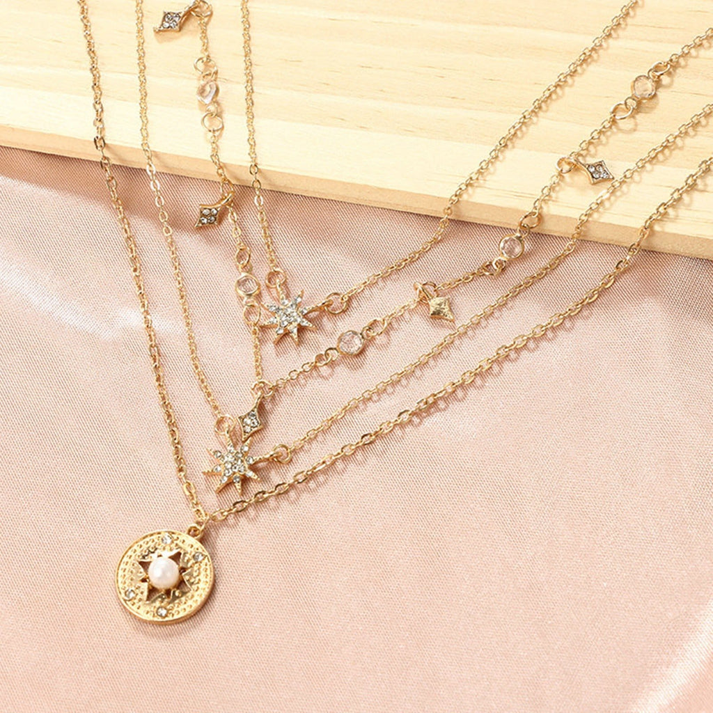 Gold Coin Layering Necklace Set Disc Pendant Minimalist Layered Necklace Star Charms