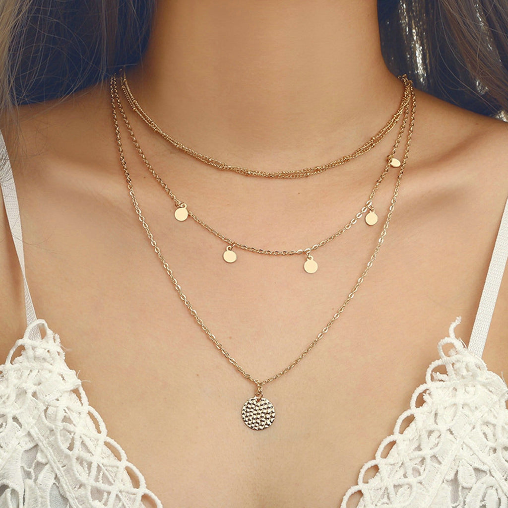 Gold Coin Multi Strand Necklace Minimalist Layered Necklace Disc Charms Clavicular Chain
