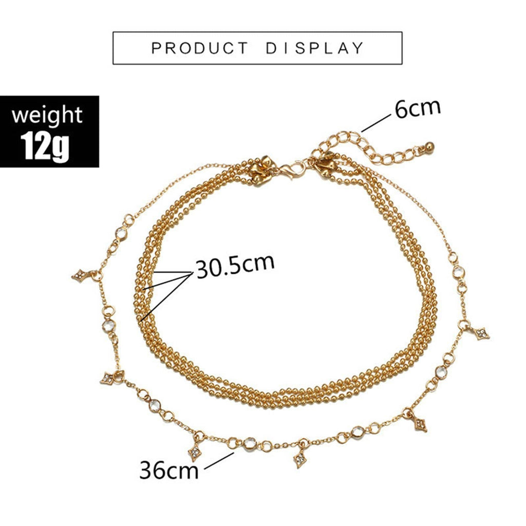 Gold Multi Strand Necklace Choker Satellite Chain Necklace Minimalist Layered Cubic Zirconia