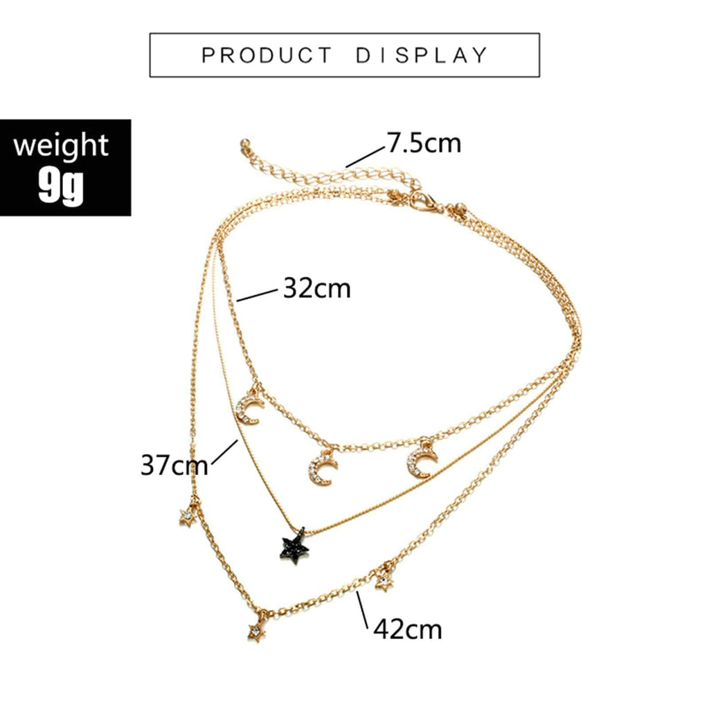 Gold Plated Minimalist Necklace Star and Moon Charms Pendant Multi-layered Necklace Set