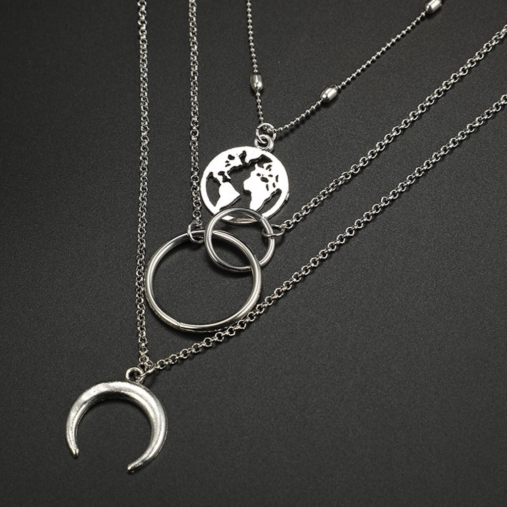 Silver Minimalist Necklace World Map Pendant Double Circle Multi-layered Necklace Set
