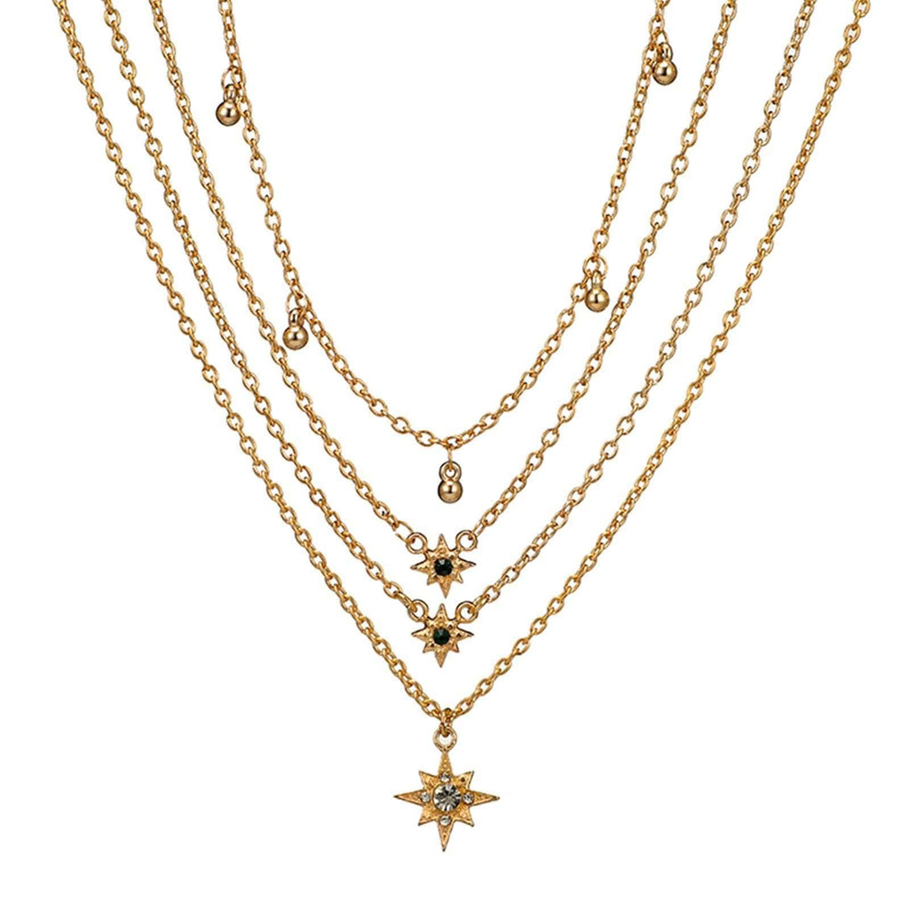 Gold Plated Minimalist Necklace Satellite Chain Star Pendant Multi-layered Necklace Set