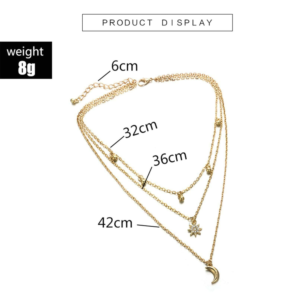 Gold Plated Minimal Necklace Satellite Chain Star Choker Pendant Multi-layered Necklace Set