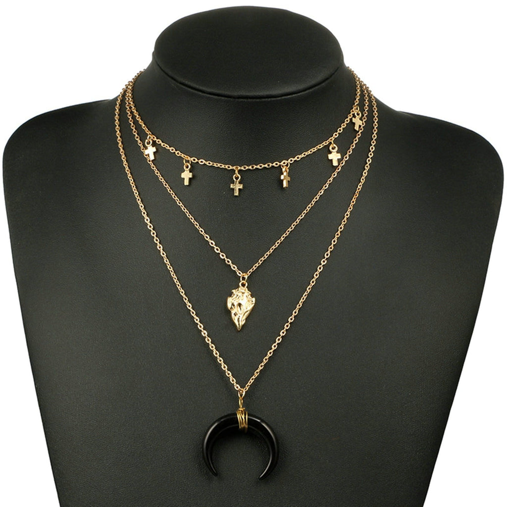 Black Moon Triple Layer Necklace Gold Cross Charm Multi Strand Necklace Choker Chain