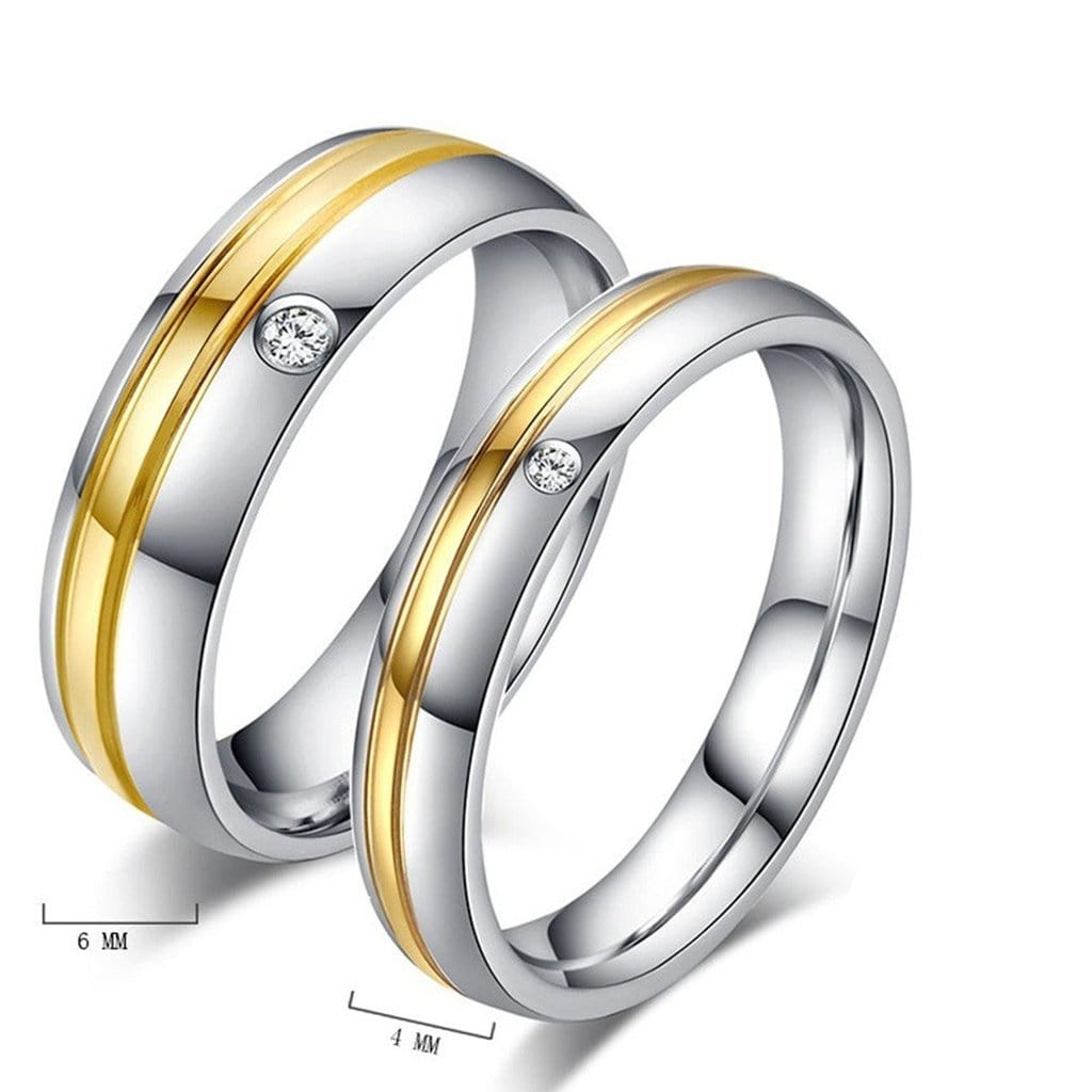 Wedding Rings CZ for Women Ring Stainless Steel Two Color Stripes Gold Silver
