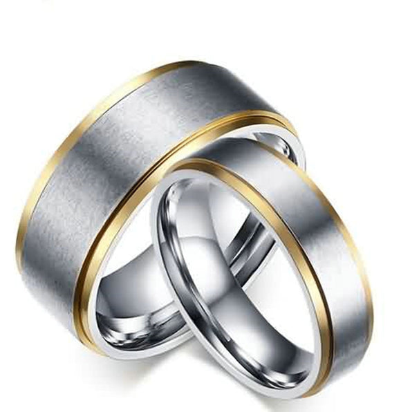 Men Women Wedding Bands Stainless Steel Matte Polished Silver Rings