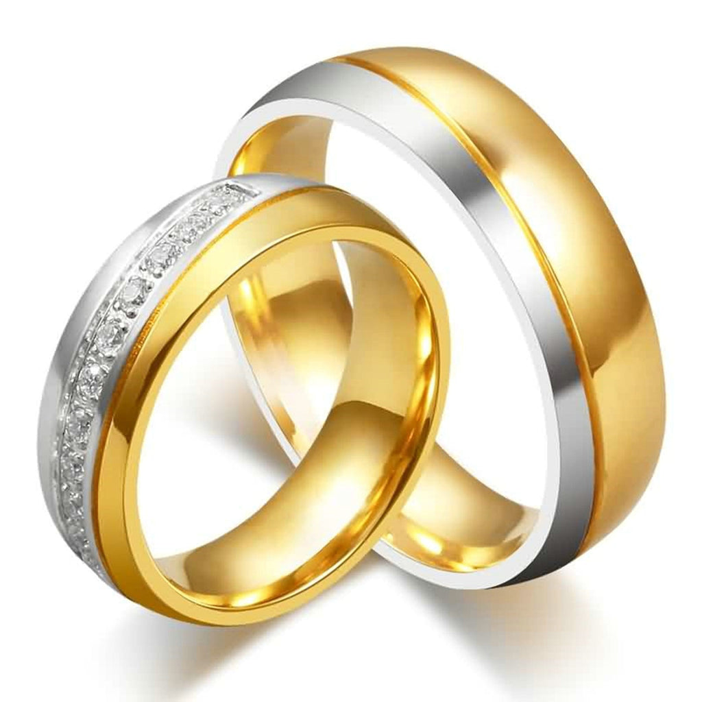 Wedding Rings Novelty Jewelry Stainless Steel High Polished Gold 6MM Size 6-13