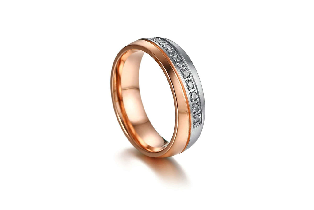 Couple Rings Engagement Promise Rings Band Stainless Steel Round Crystal Rose Gold