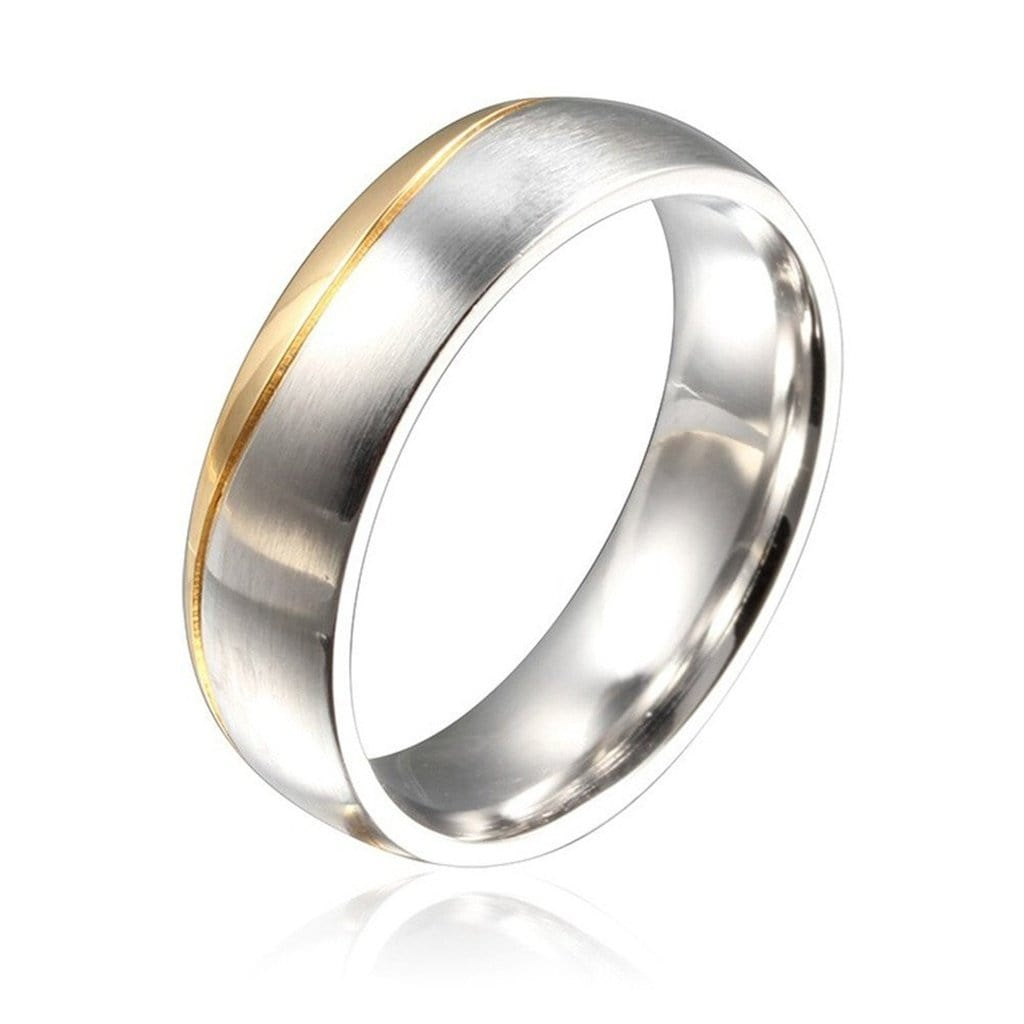 Rings for Women Fashion Wedding Ring Stainless Steel Oblique Line Gold Silver