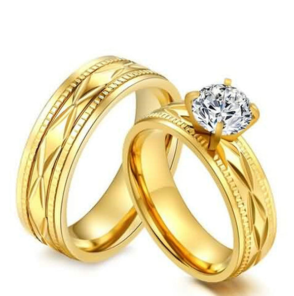 Rings for Men Wedding Engagement Rings Stainless Steel Pattern Gold Size 5-12