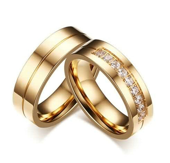 Wedding Rings Gold for Women Men Crystal Rings Stainless Steel Channel Setting