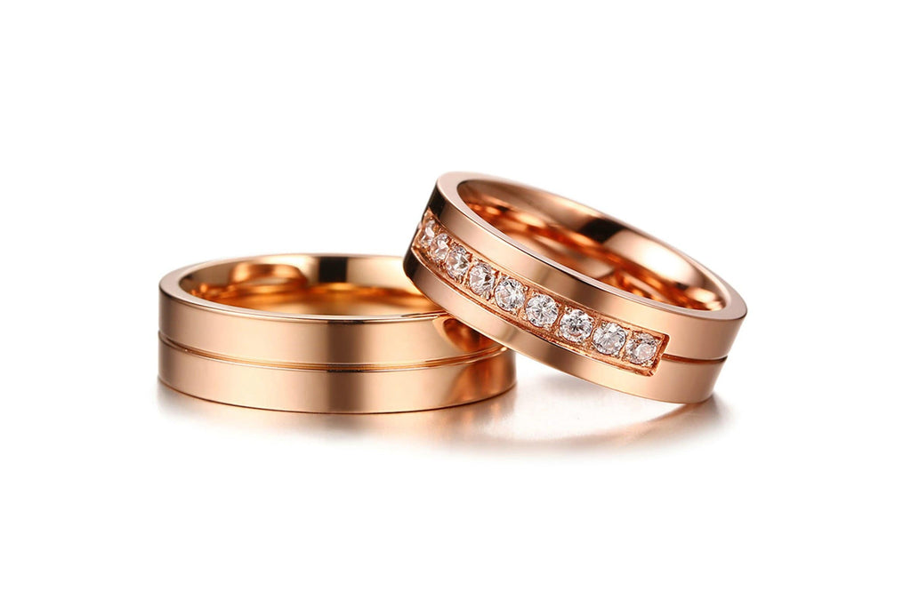 Engagement Rings for Women Men Statement Rings Channel Stainless Steel Rose Gold
