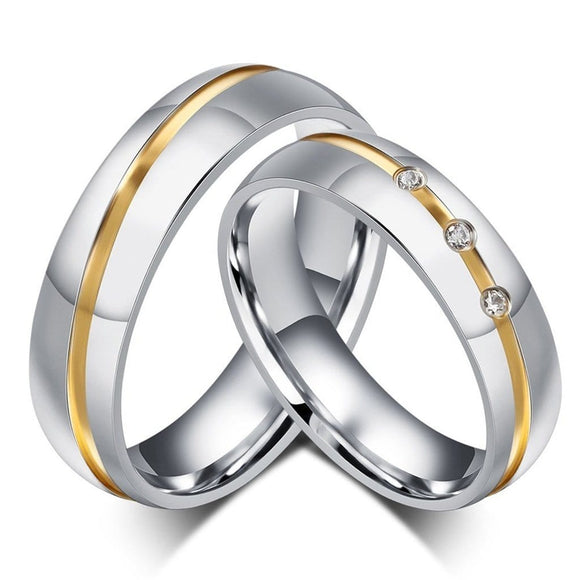 Stainless Steel Rings Infinity Wedding Ring Round Two Tone Silver Gold
