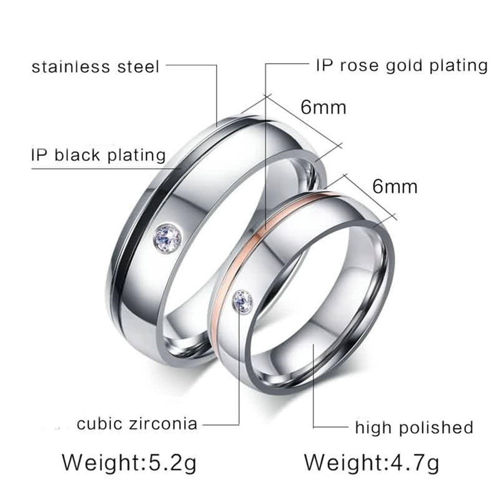 Rings for Women Men Infinity Ring Stainless Steel Single Crystal Rose Gold