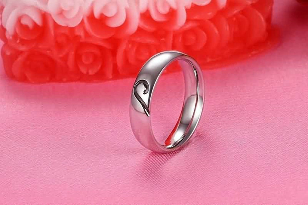 Mens Wedding Rings Gold Stainless Steel Half Heart Black Silver