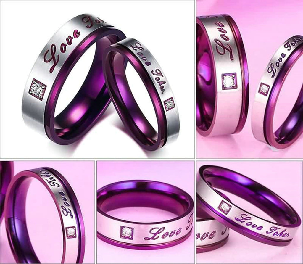Wedding Rings Titanium Stainless Steel Rings for Men Love CZ Purple