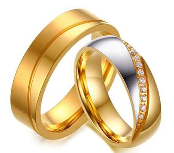 Rings for Men Fashion Wedding Bands Stainless Steel Matte Finished Gold Size 6-10