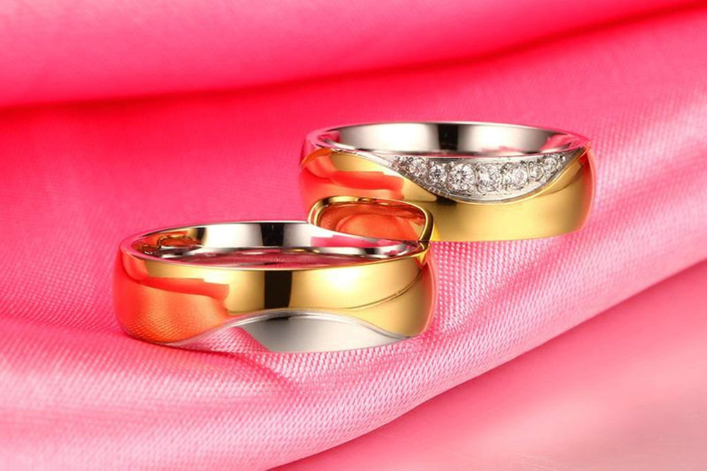 Crystal Rings for Men Women Engagement Wedding Ring Stainless Steel Silver Gold