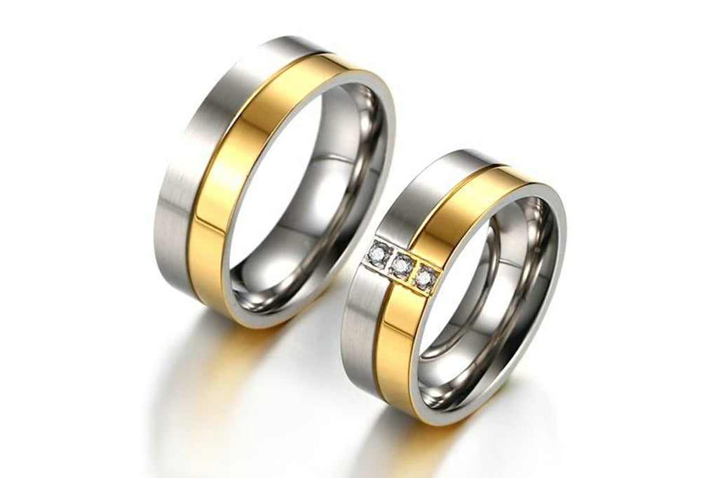 Titanium Women Men Rings Stainless Steel Wedding Bands Silver Gold Size 6-12
