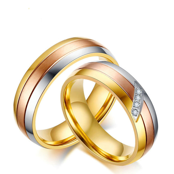 Men Rings Fashion Anniversary Ring Stainless Steel Round Gold Size 9-12