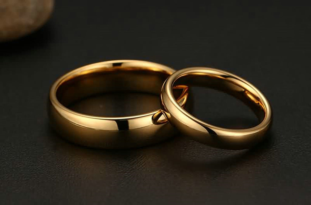 Tungsten Rings Men Women Wedding Bands High Polished Gold Size 5-14