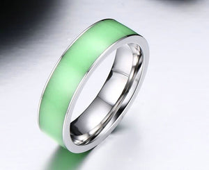 Rings for Men Engagement Wedding Bands Stainless Steel Luminous Green Size 5-12