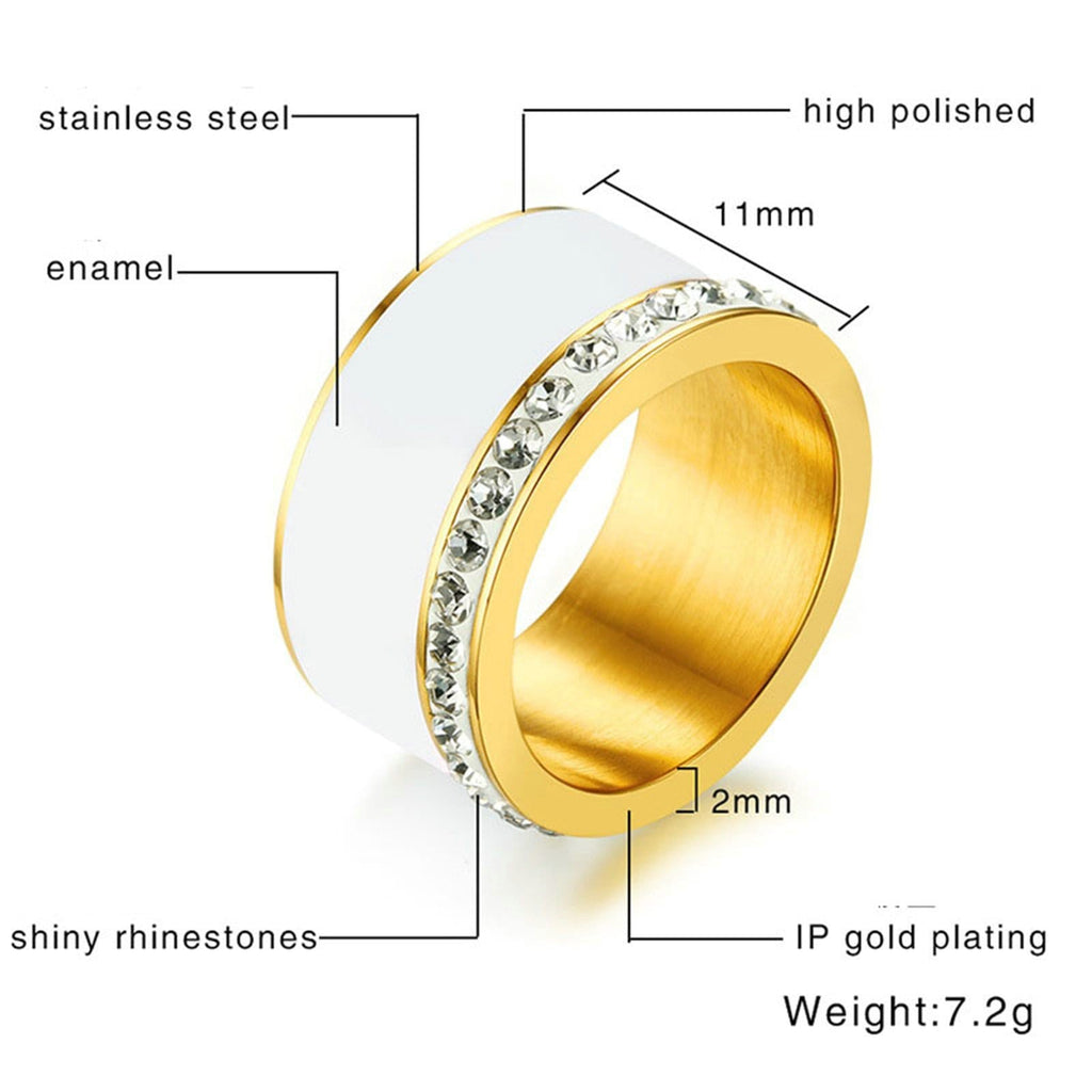 Women Ceramics Rings White Promise Ring for Brides Stainless Steel Gold Size 7-9