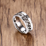 Men Rings Wedding Ring Stainless Steel Roman Numerals Chain Size 8-12