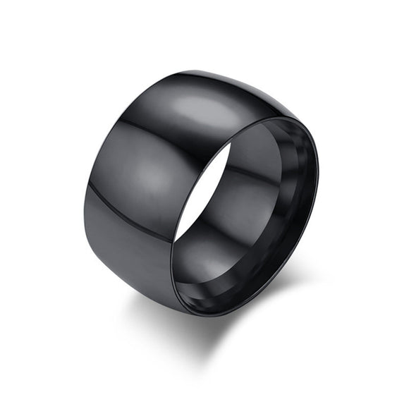 Gold for Men Wedding Ring Stainless Steel Wide Polished Black Size 7-12