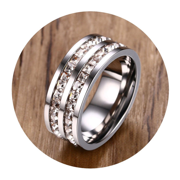 Rings for Women Love Engagement Ring Stainless Steel Square CZ2 Row Silver