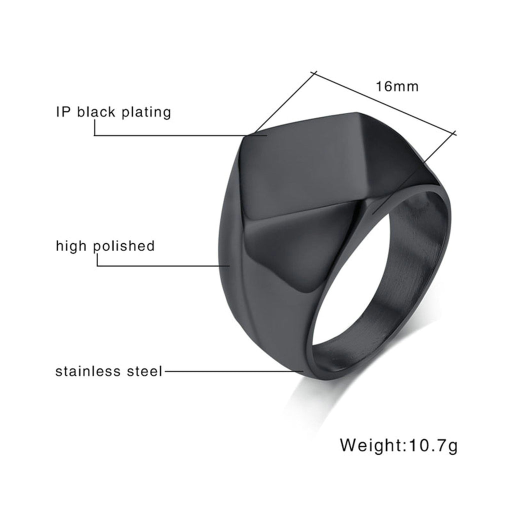 Men Engagement Rings Bands Jewelry Stainless Steel Black Gold Silver Size 8-12