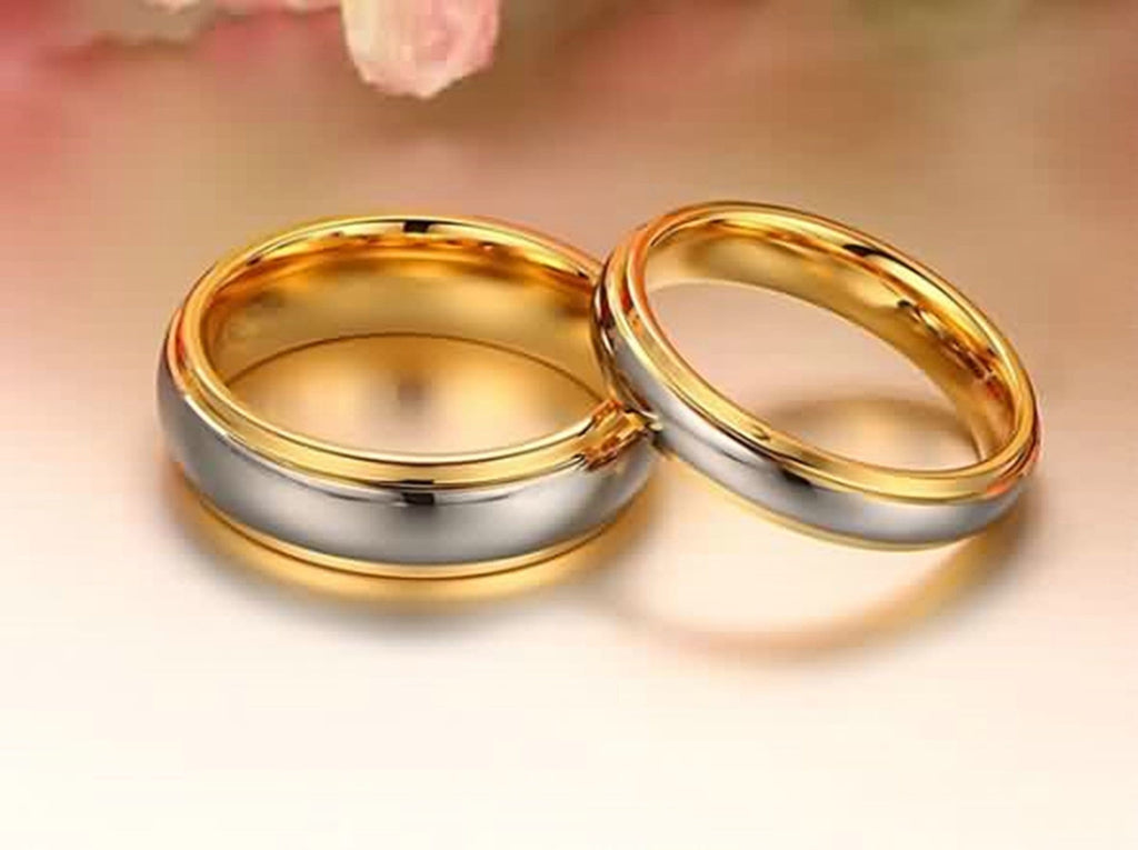 Men Tungsten Rings Wedding Ring Well Polished Gold Size 6-11