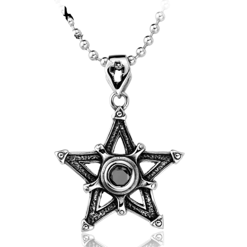 Necklace for Men Cross Lovers Five Star Cross Cz Charm Pendant Super 316L Stainless Steel Pendant