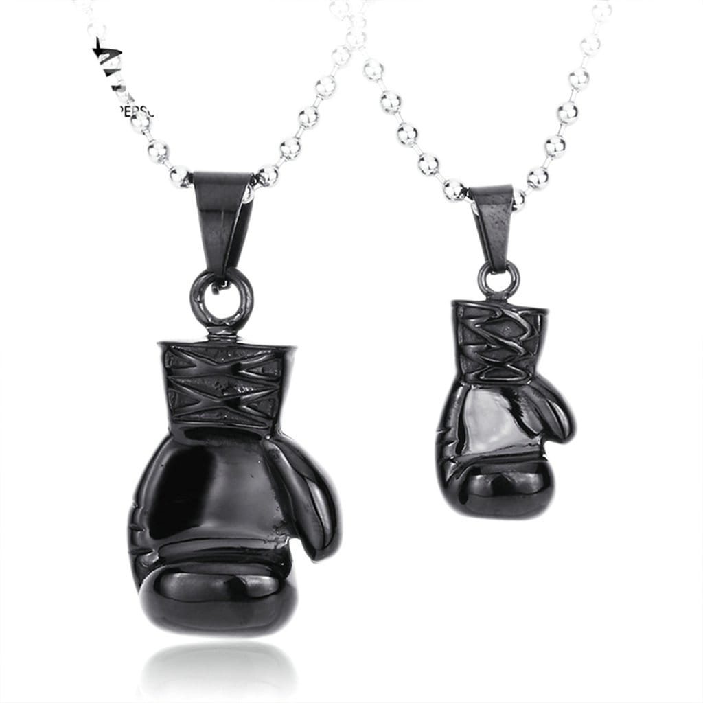 Men Necklace Stainless Steel Black Boxing Match Boxglove Pendant Chain