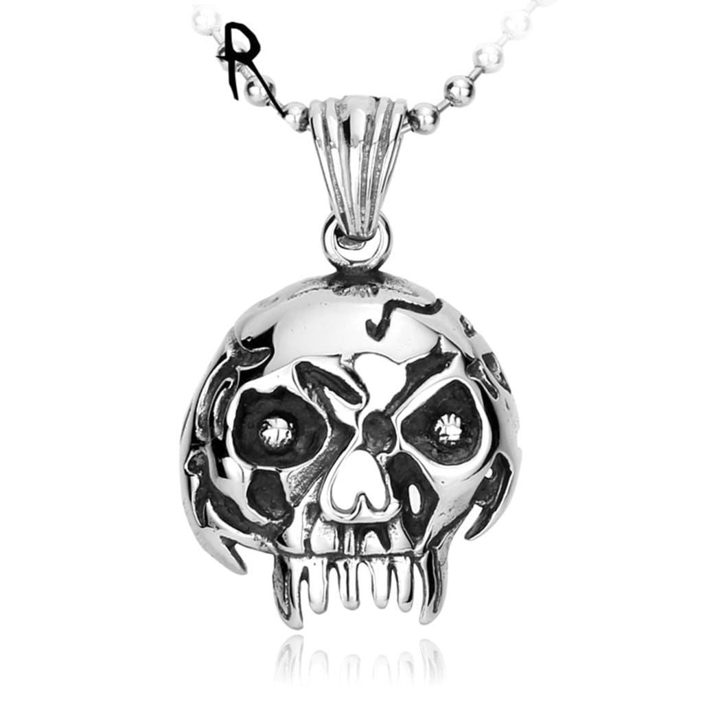 Necklace for Men Engravable Punk Ugly Skull Pendant Necklace for Girl Boy Stainless Steel