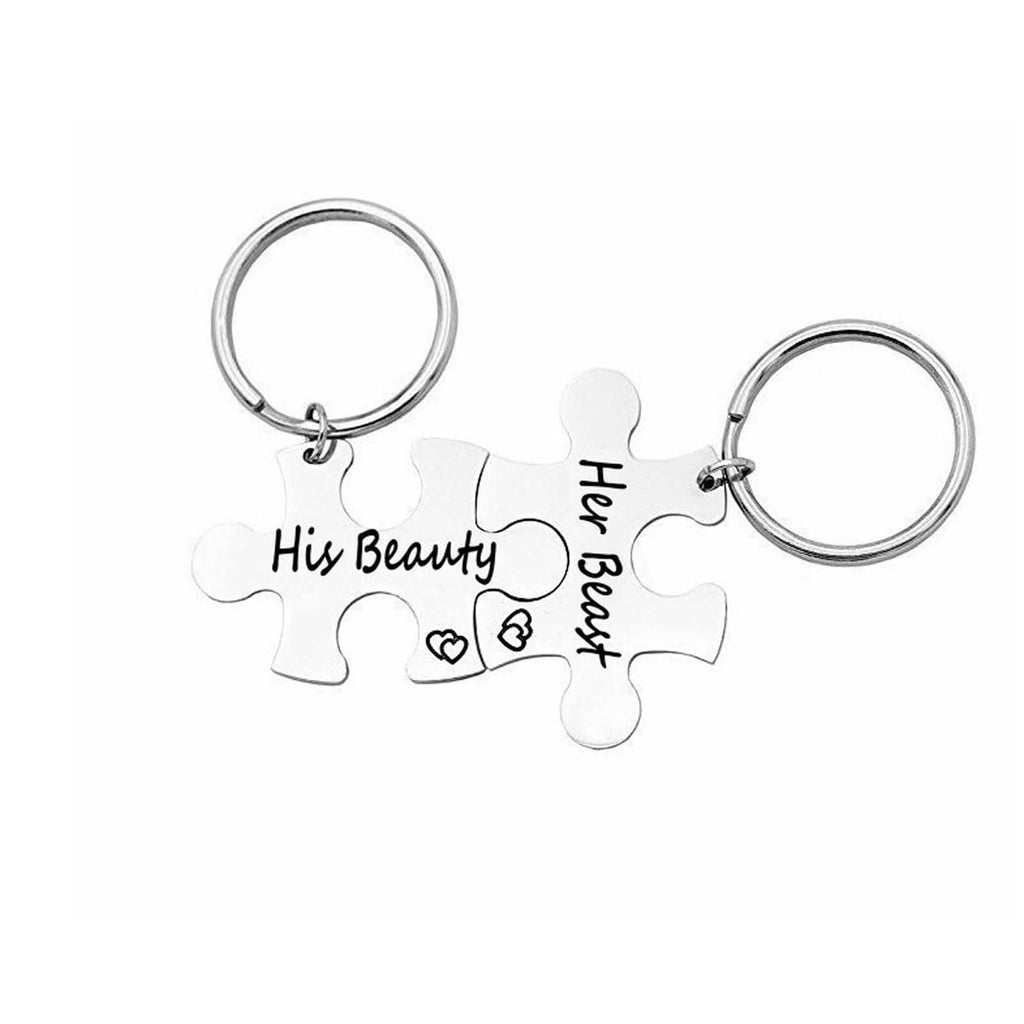 Key Rings Keychain Stainless Steel Accessory for Men Puzzle His Always Her Forever Silver