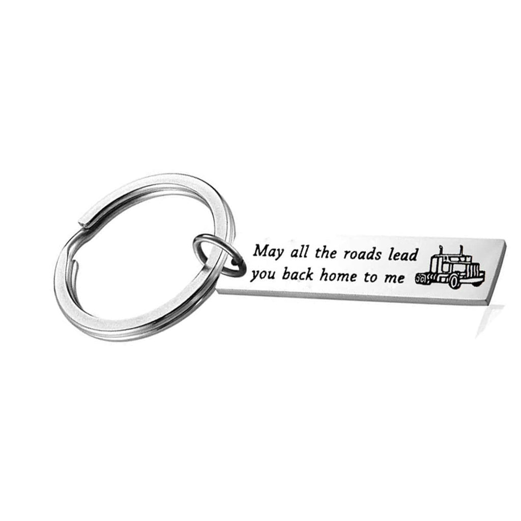 Key Rings for Girls Stainless Steel Jewelry May All The Roads Lead You Back Home To Me Silver