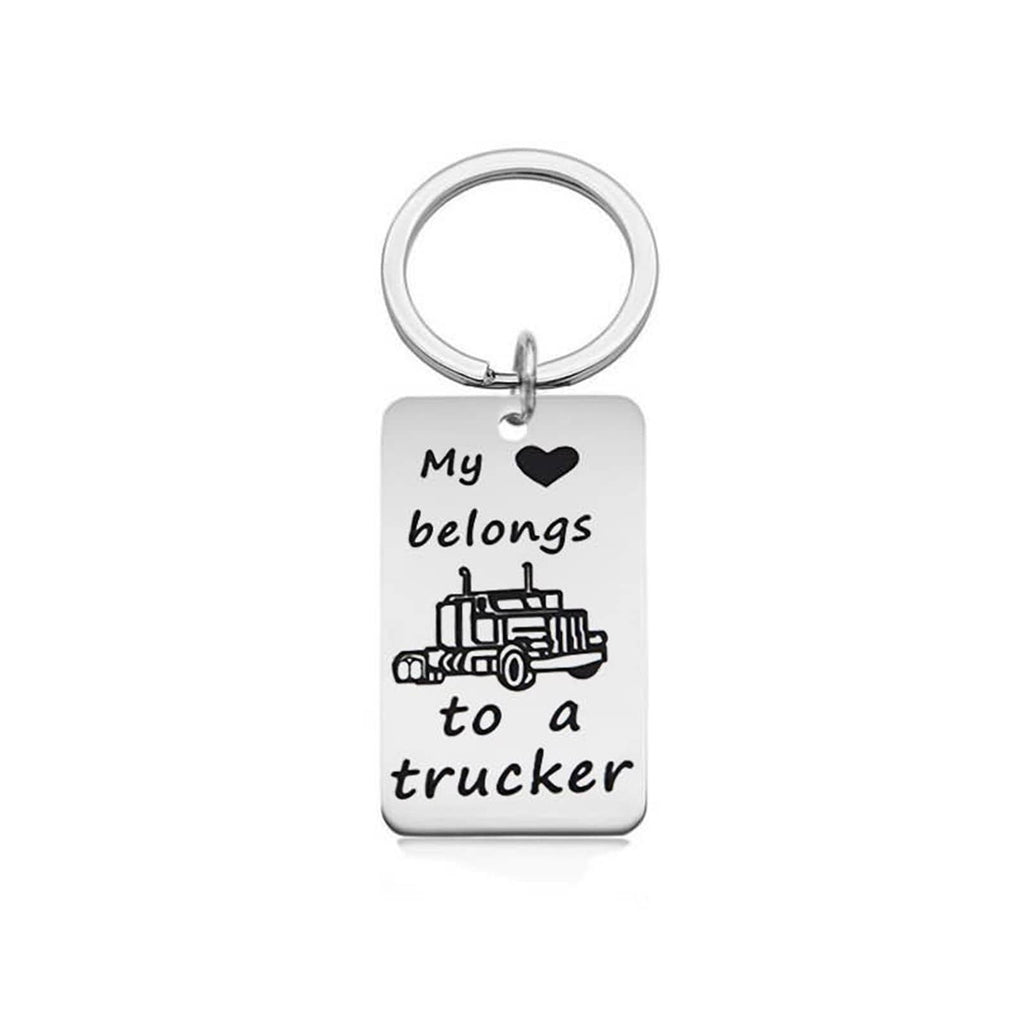 Key Rings for Her Stainless Steel Accessory for Men My Love Belongs To A Trucker Dog Tag Silver