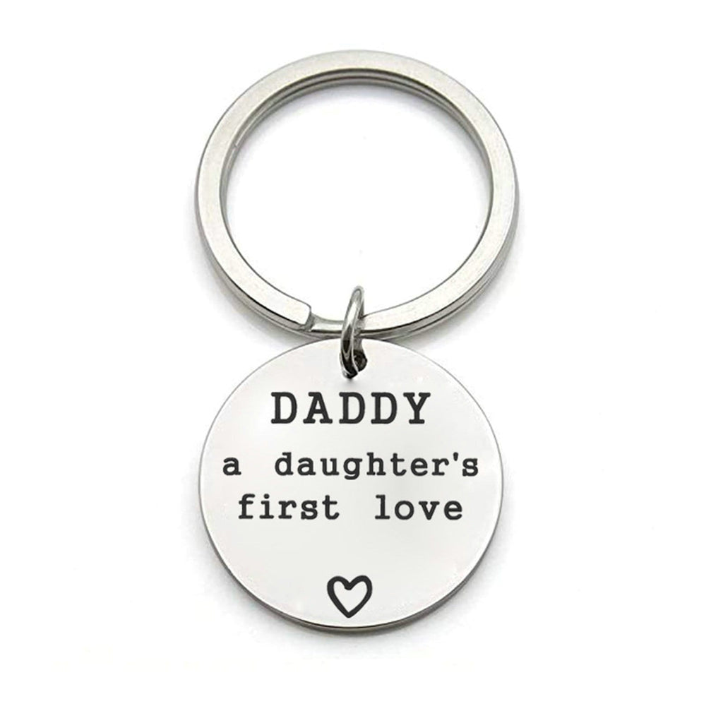 Keychain for Women Stainless Steel Jewelry Daddy A Daughter's First Love Silver