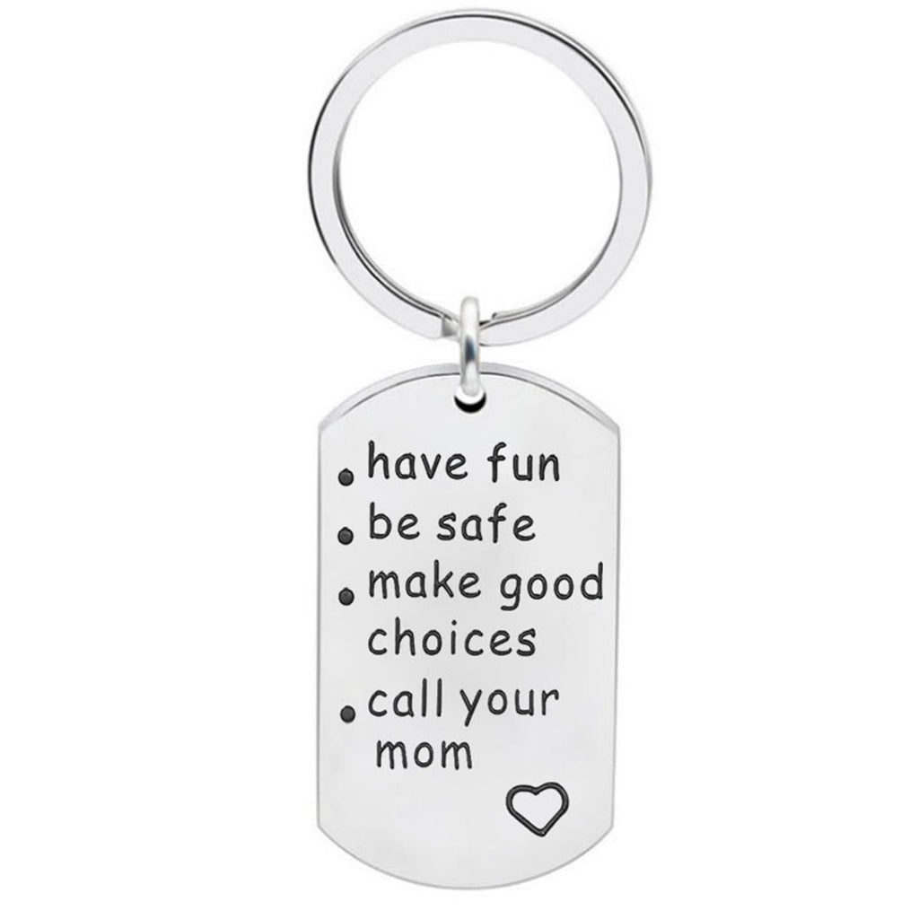 Keychain Hoop Stainless Steel Keychain Dog Tag Have Fun Be Safe Make Good Choices..